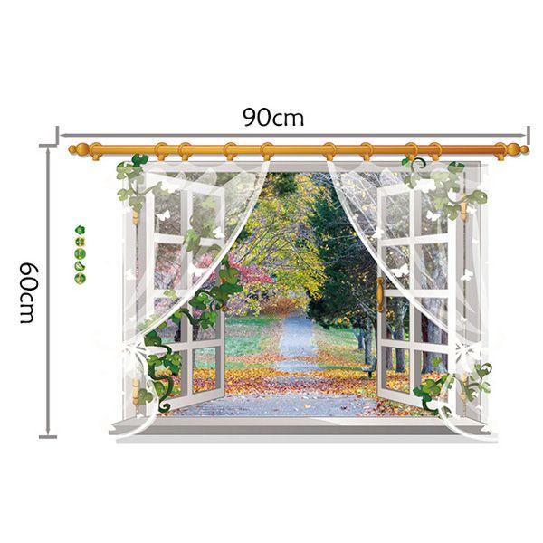 Stylish 3D Window Grove Landscape Pattern Wall Sticker For Livingroom Bedroom Decoration