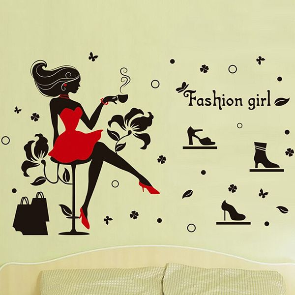 Chic Quality Fashion Girl and High Heels Pattern Removeable Wall Stickers