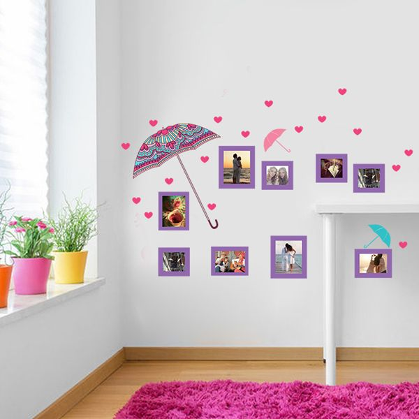 Chic Quality Flower Umbrella and Photo Frame Pattern Removeable Wall Stickers