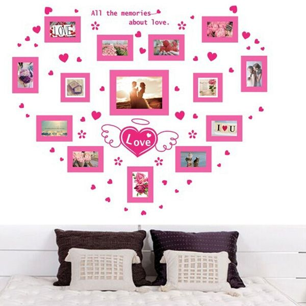 Fashionable Love Heart Photo Wall Pattern Removeable Wall Stickers