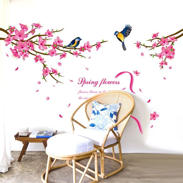 Fresh Style Spring Flowers and Siskin Pattern Removeable Wall Stickers
