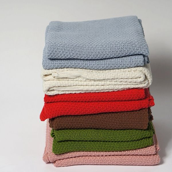 Simple Solid Color Cotton Knitted Summer Blanket For kids