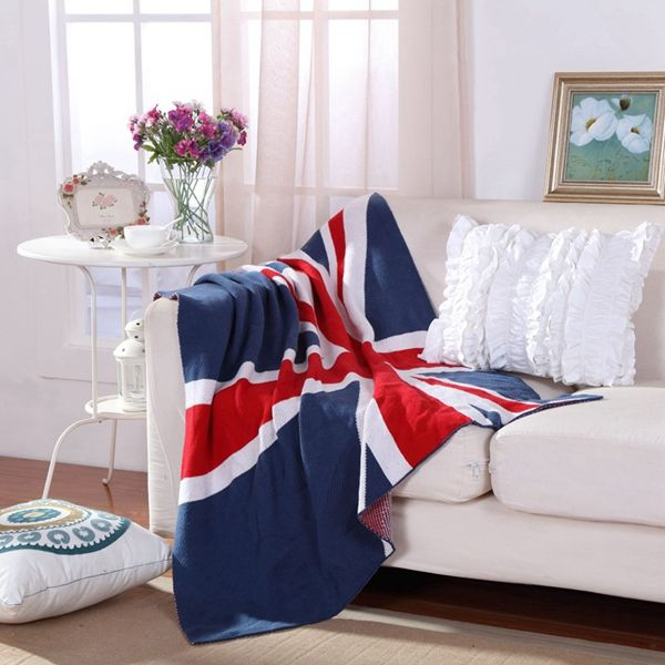 Fashion British Style Union Jack Pattern Cotton Knitted Blanket