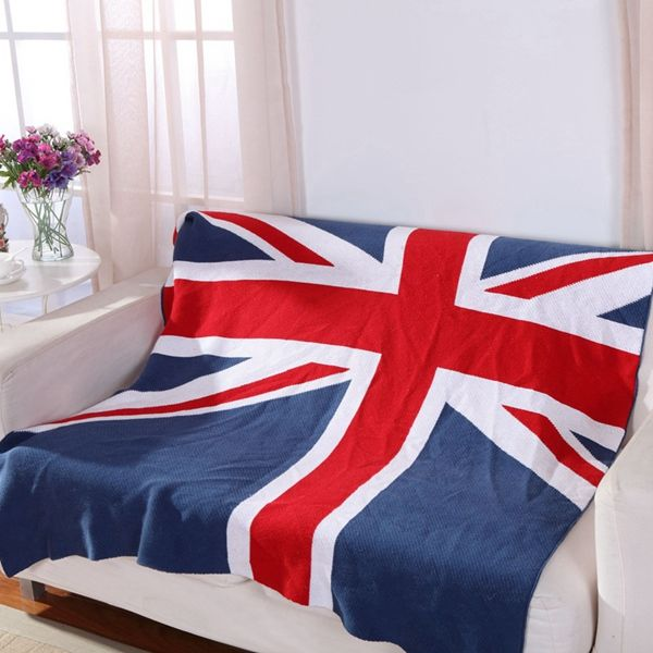 Fashion British Style Union Jack Pattern Cotton Knitted Blanket
