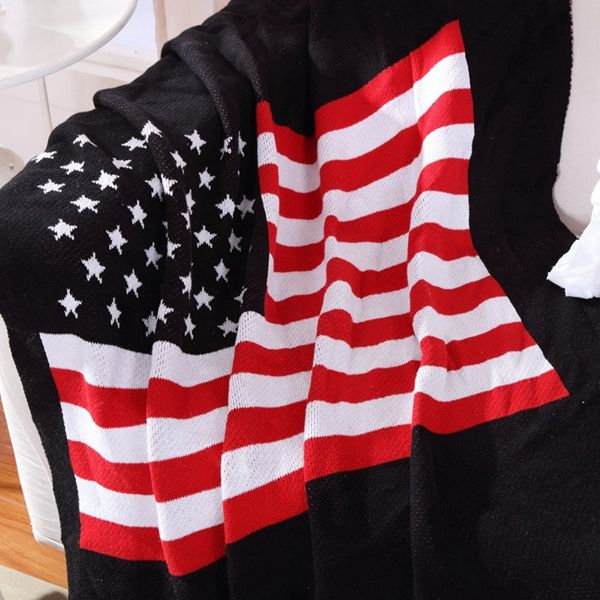Chic Quality Stars and Stripes Pattern Cotton Knitted Blanket