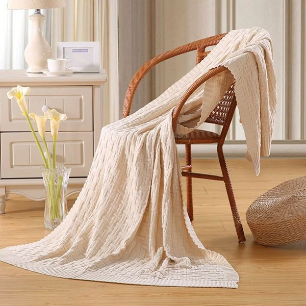 Fashion Casual Style Solid Color Cotton Pattern Knitted Blanket