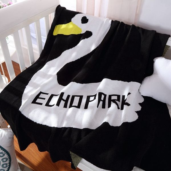 Stylish Duck Pattern Black White Color Cotton Knitted Blanket For Child