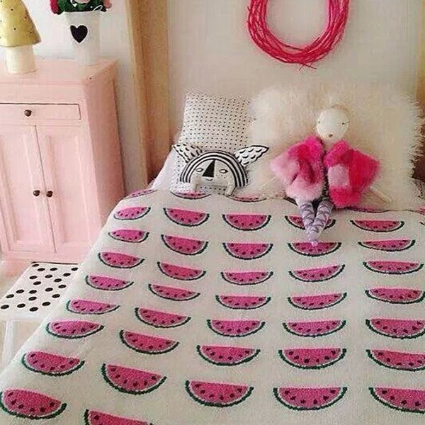 Fashionable Watermelon Pattern Cotton Knitted Blanket For Child