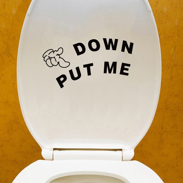 Fashion Put Me Down Pattern Toilet Sticker For Bathroom Restroom Decoration