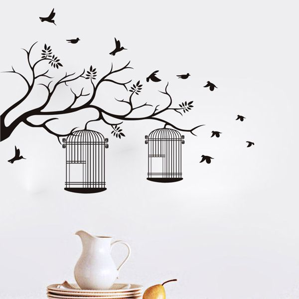 Fashion Branch and Birdcage Pattern Wall Sticker For Bedroom Livingroom Decoration