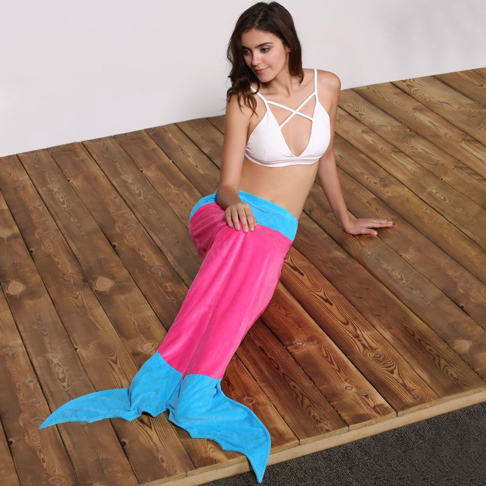 Cute Color Block Mermaid Design Blanket For Kids