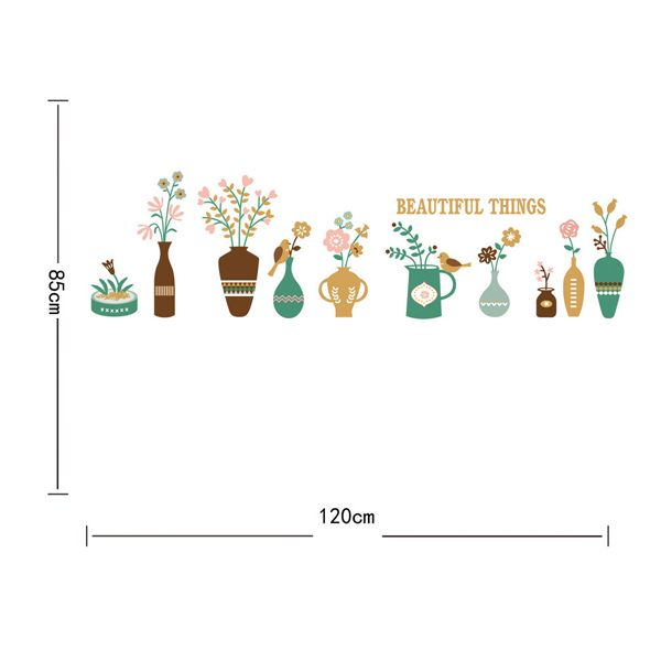 Fashion Flower Vase Pattern Baseboard Wall Sticker For Corridor Bedroom Decoration