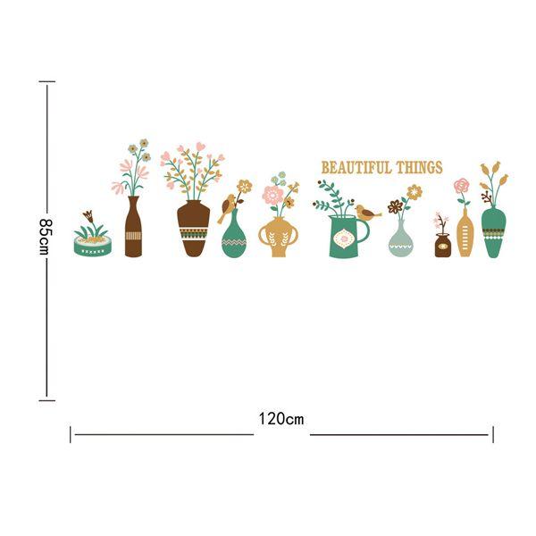 Fashion Flower Vase Pattern Baseboard Wall Sticker For Corridor Bedroom Decoration