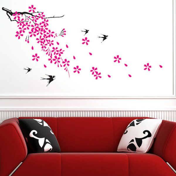 Fashion Swallow and Floral Pattern Wall Sticker For Bedroom Livingroom Decoration