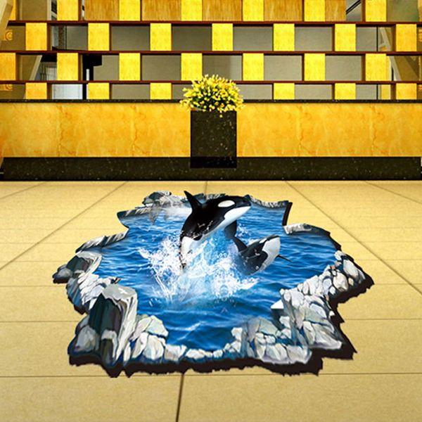 Fashion 3D Whale Pattern Wall Sticker For Bathroom Livingroom Floor Decoration