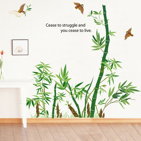 Fashion Birds and Bamboo Pattern Wall Sticker For Bedroom Livingroom Decoration