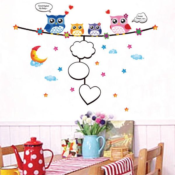 Fashion Cartoon Night Owl Pattern Photo Wall Sticker For Bedroom Livingroom Decoration