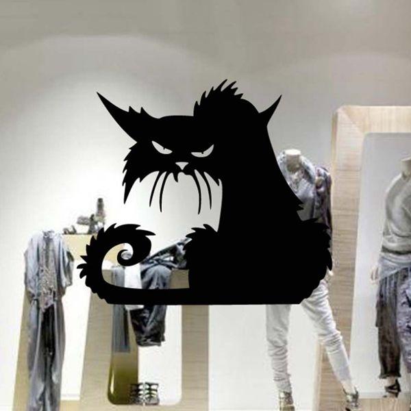 Fashion Black Cat Pattern Wall Sticker For Bedroom Livingroom Decoration