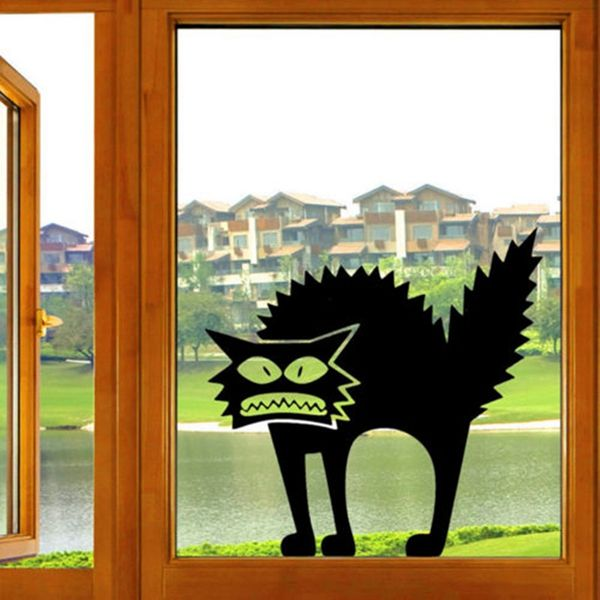 Fashion Horror Black Cat Pattern Wall Sticker For Bedroom Livingroom Decoration
