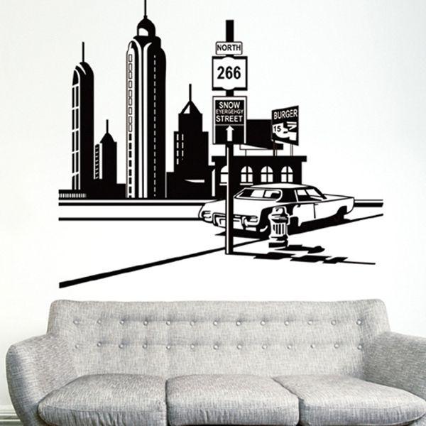Fashion City Tower Landscape Pattern Wall Sticker For Bedroom Livingroom Decoration