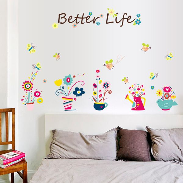 Fashion Cartoon Bee and Bonsai Pattern Wall Sticker For Bedroom Livingroom Decoration