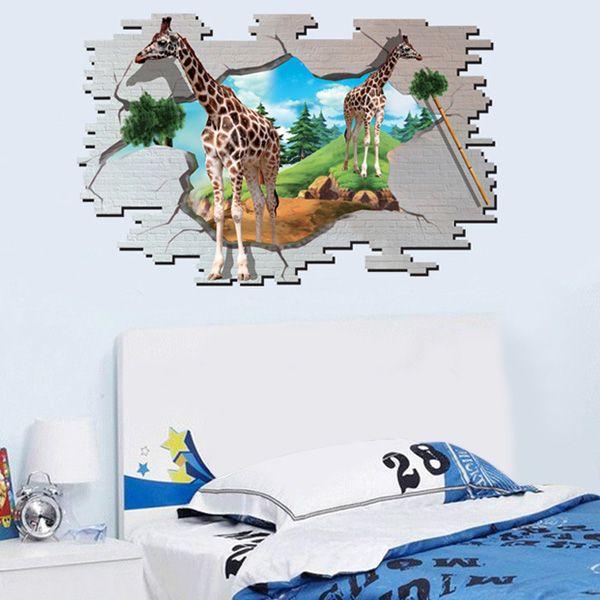 3D Giraffe Animal Broken Wall Stickers For Kids Room