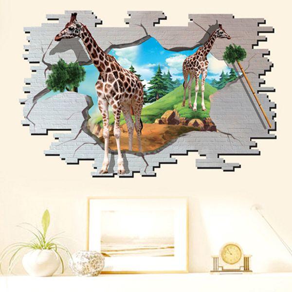 Fashion 3D Giraffe Broken Wall Pattern Sticker For Bedroom Livingroom Decoration