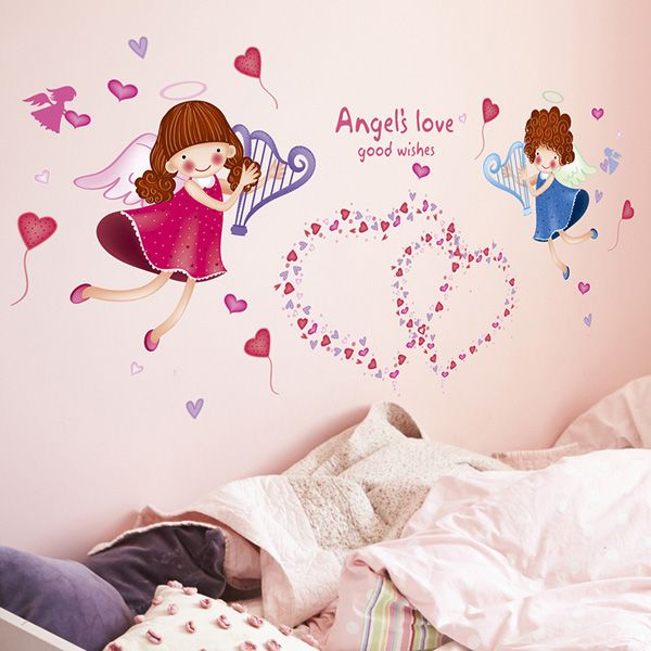 Sweet Heart Angle Pattern Wall Stickers For Girl Bedrooms