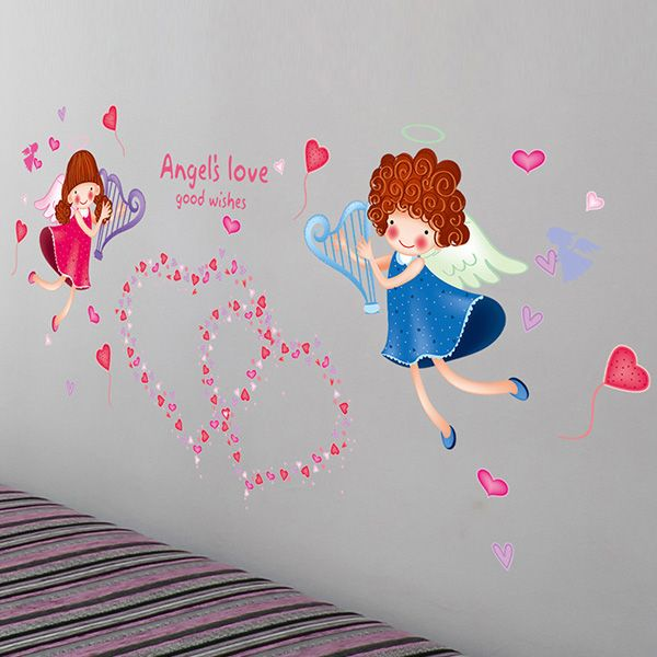 Fashion Sweet Heart Angle Pattern Wall Sticker For Bedroom Livingroom Decoration