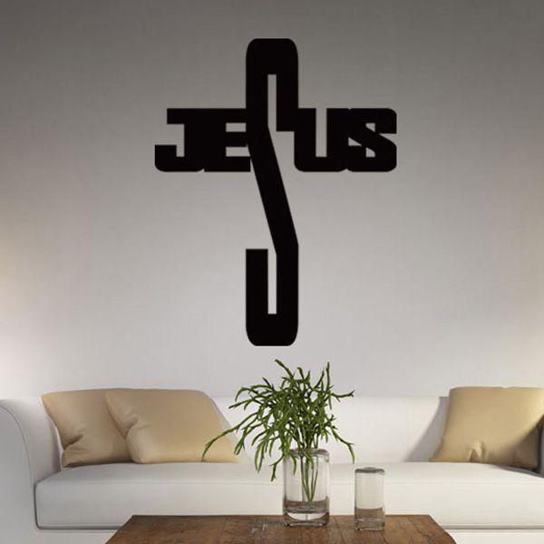 Chic Jesus Cross Shape Pattern Wall Sticker For Bedroom Livingroom Decoration