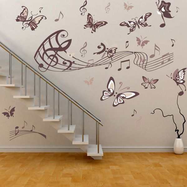 Chic Music and Butterflies Pattern Wall Sticker For Bedroom Livingroom Decoration