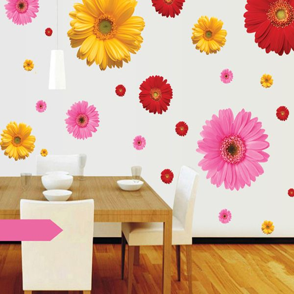 2017 fashion daisy pattern wall sticker for bedroom for Daisy fuentes wall mural