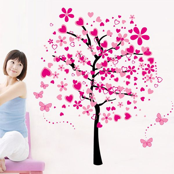 Chic Pink Tree Pattern Wall Sticker For Bedroom Livingroom Decoration