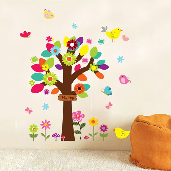 Colorful Tree Wall Mural Stickers For Kid's Rooms