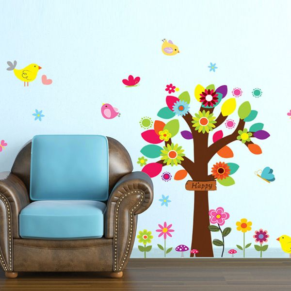 Chic Colorful Tree Pattern Wall Sticker For Bedroom Livingroom Decoration
