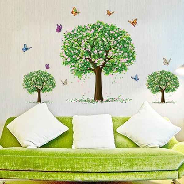 Three Trees Pattern Wall Sticker For Bedroom Livingroom Decoration