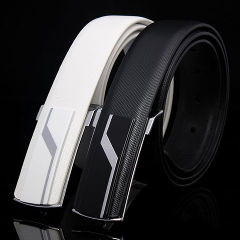 Stylish Lightning Alloy Inlay Buckle Solid Color Wide Belt For Men