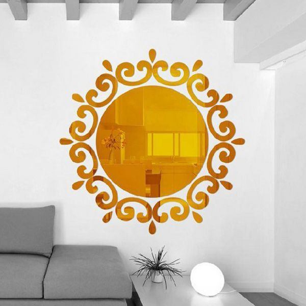 Stylish Sun Flower Shape Mirror Wall Stickers For Livingroom Bedroom Decoration