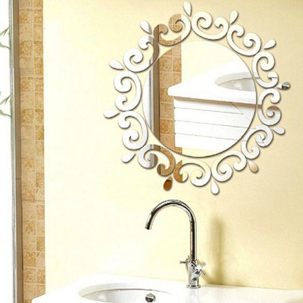 Stylish Sun Flower Shape Mirror Wall Stickers For Livingroom Bedroom Decoration