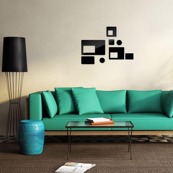 Stylish DIY Geometric Shape Mirror Wall Stickers For Livingroom Bedroom Decoration