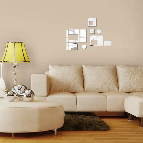 Stylish DIY Geometric Shape Mirror Wall Stickers For Livingroom Bedroom Decoration