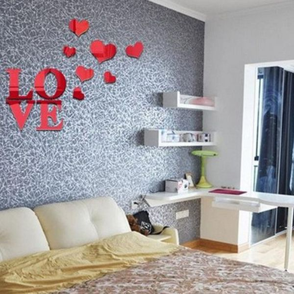 Stylish Love Heart Shape Mirror Wall Stickers For Livingroom Bedroom Decoration