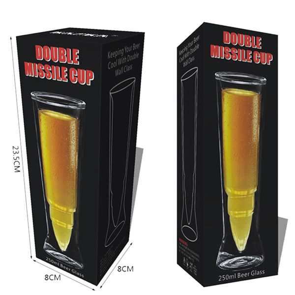 Missile Shape Double Cup Transparent Juice Beer Glass