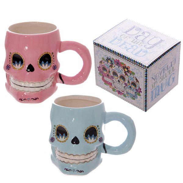 Novelty Office Cup 3D Floral Skull Shape Ceramic Mug