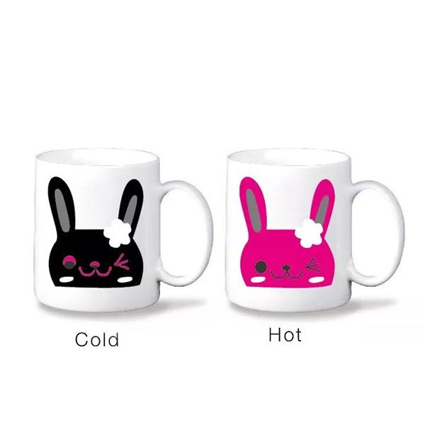 Novelty Office Tea Coffee Cup Cartoon Rabbit Pattern Color Changing Ceramic Mug