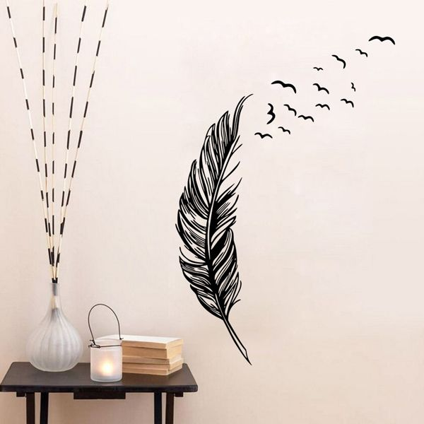 Fashion Feather Flying Birds Pattern Wall Sticker For Bedroom Livingroom Decoration
