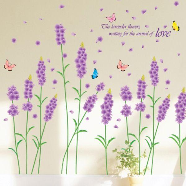 Fashion Lavender Pattern Wall Sticker For Bedroom Livingroom Decoration
