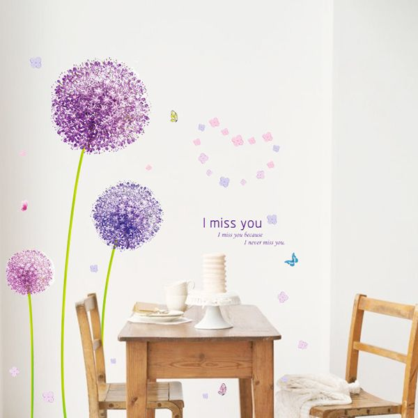 Fashion Purple Dandelion Pattern Wall Sticker For Bedroom Livingroom Decoration