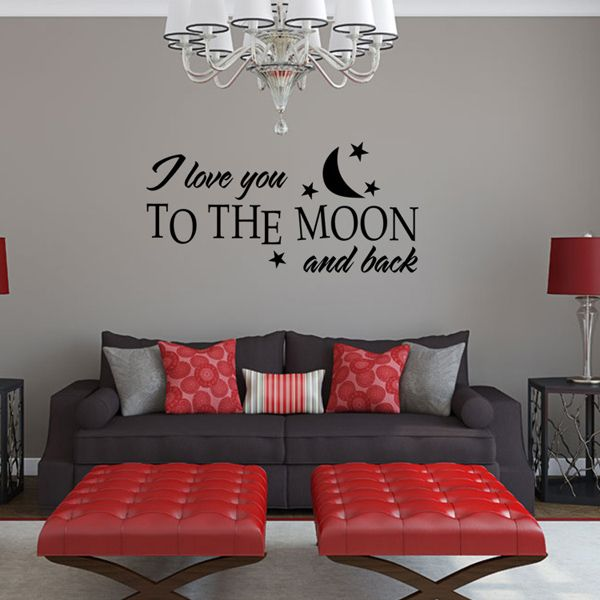 chic moon and letters pattern wall sticker for bedroom livingroom decoration black in wall. Black Bedroom Furniture Sets. Home Design Ideas