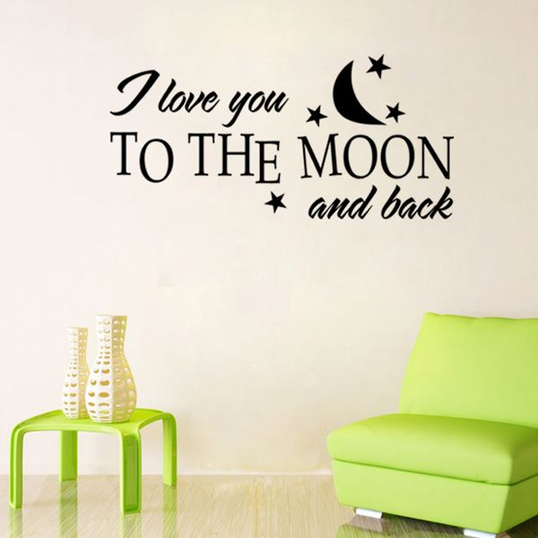 Fashion Moon and Letters Pattern Wall Sticker For Bedroom Livingroom Decoration